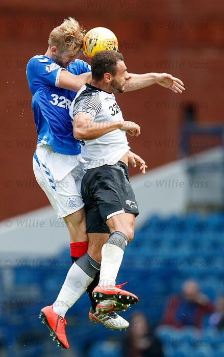 28.07.2019 Rangers v Derby County: Filip Helander and Mason Bennett