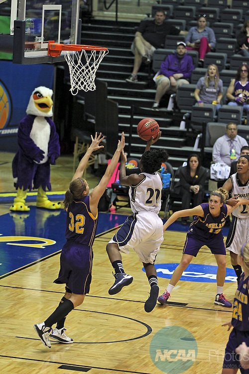 29 MAR 2013:  Seja Gamble of Dowling (20) goes to the basket against Ashley Dorner of Ashland (32) during the Division II Women's Basketball Championship held at Bill Greehey Arena in San Antonio, TX.  Ashland defeated Dowling 71-56 to win the national title. Rudy Gonzalez/NCAA Photos