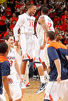 CHARLOTTESVILLE, VA- JANUARY 7: Akil Mitchell #25 and Darion Atkins #32 of the Virginia Cavaliers celebrate the 52-51 victory over the Miami Hurricanes on January 7, 2012 at the John Paul Jones Arena in Charlottesville, Virginia. (Photo by Andrew Shurtleff/Getty Images) *** Local Caption *** Akil Mitchell;Darion Atkins