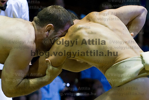 Traditional Japanese wrestlers compete during the Sumo European Championships held in National Sports Hall.