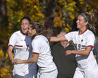 Boston College forward Victoria DiMartino (1) celebrates her goal with teammates. Boston College defeated Marist College, 6-1, in NCAA tournament play at Newton Campus Field, November 13, 2011.