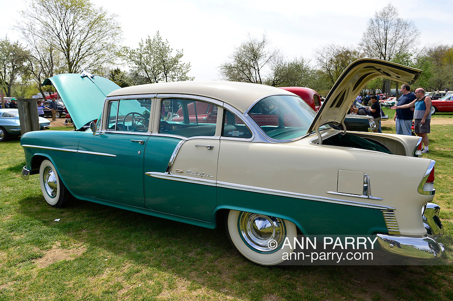 April 28, 2013 - Floral Park, New York, U.S. - This 1955 Chevy Bel Air, a Nepture Green and Shoreline Beige 4-door sedan, is at the Antique Auto Show, where New York Antique Auto Club members exhibited their cars on the farmhouse grounds of Queens County Farm Museum.