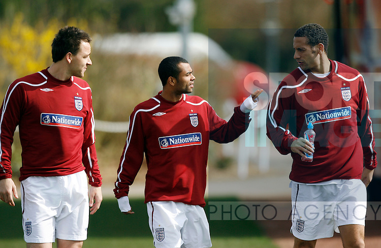 England's John Terry, Ashley Cole and Rio Ferdinand