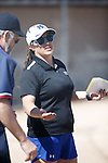 Western Nevada's Coach Leah Wentworth during the pregame meeting before the game against Colorado North Western at Edmonds Sports Complex Carson City, Nev., on Friday, March 18, 2016.<br /> Photo by Jeff Mulvihill, Jr.