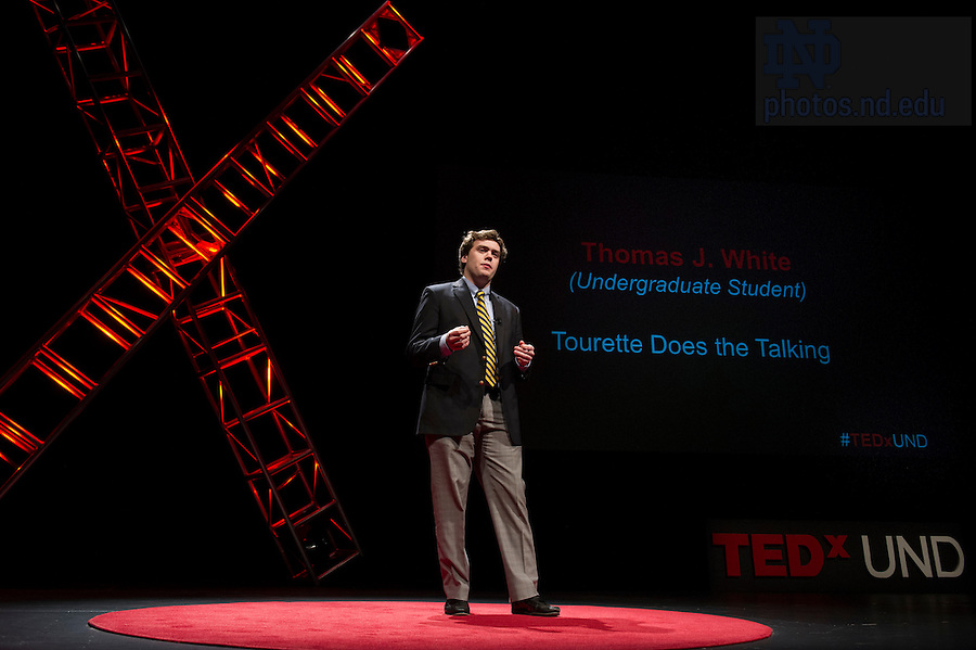 "Jan. 21, 2014; Thomas J. White delivers his talk titled, ""Tourette Does the Talking,"" during the TEDxUND 2014 event in the Debartolo Performing Arts Center. Photo by Barbara Johnston/University Photographer"
