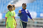 (L to R) <br /> Saori Ariyoshi, <br /> Asano Nagasato, <br />  Norio Sasaki (JPN), <br /> MARCH 6, 2015 - Football / Soccer : <br /> Algarve Women's Football Cup 2015 Group C match <br /> between Japan 3-0 Portugal <br /> at Algarve Stadium in Faro, Portugal. <br /> (Photo by YUTAKA/AFLO SPORT)[1040]
