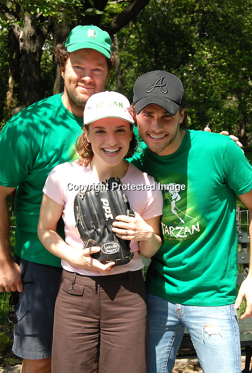 Schuler Hensley, Jenn Gambatese and Josh Strickland of..Tarzan..at The opening Day of The Broadway Softball League on ..May 25, 2006 in Central Park. ..Robin Platzer, Twin Images