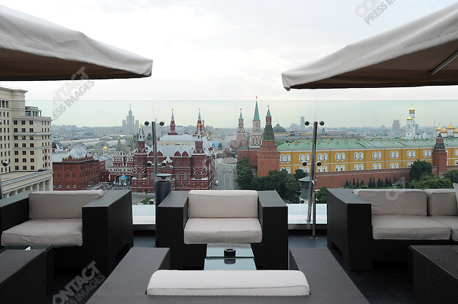 View over Red Square from the terrace of the Ritz-Carlton Hotel, Moscow, Russia, July 20, 2009