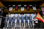 Movistar Team at the team presentations in Compiegne before Paris-Roubaix 2019, Compiegne, France. 13th April 2019<br /> Picture: ASO/Pauline Ballet | Cyclefile<br /> All photos usage must carry mandatory copyright credit (© Cyclefile | ASO/Pauline Ballet)
