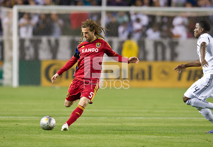 CARSON, CA - March 10,2012: Real Salt Lake midfielder Kyle Beckerman (5) during the LA Galaxy vs Real Salt Lake match at the Home Depot Center in Carson, California. Final score LA Galaxy 1, Real Salt Lake 3.