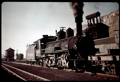 D&amp;RGW #464 K-27 in Durango with tank to left and coaling tower in background.<br /> D&amp;RGW  Durango, CO
