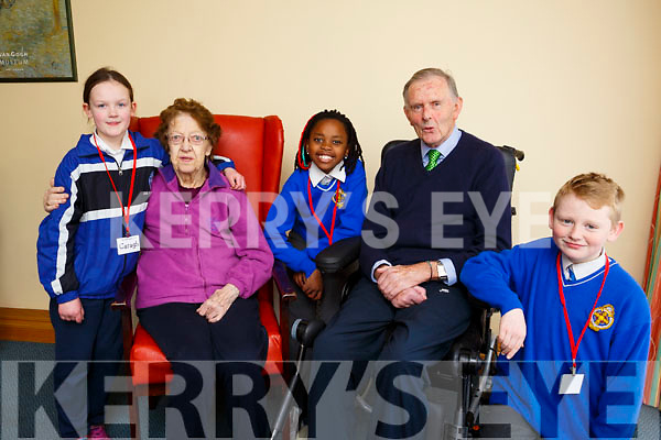 "Students from CBS Primary school's ""The Seanóige Club"", visit the Fatima Nursing Home on a weekly basis to engage in a range of activities with the residents. L-r, Caragh McGillicuddy, Rose Sheehy (Lyrecrompane),  Maladi Hlongwane, Pat Crean (Tralee) and Jack O'Mahoney,"