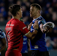 Bath Rugby's Dave Attwood and Saracens' Michael Rhodes square up to each other<br /> <br /> Photographer Bob Bradford/CameraSport<br /> <br /> Gallagher Premiership - Bath Rugby v Saracens - Friday 8th March 2019 - The Recreation Ground - Bath<br /> <br /> World Copyright © 2019 CameraSport. All rights reserved. 43 Linden Ave. Countesthorpe. Leicester. England. LE8 5PG - Tel: +44 (0) 116 277 4147 - admin@camerasport.com - www.camerasport.com