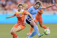 Houston, TX - Friday April 29, 2016: Kealia Ohai (7) of the Houston Dash battles Erin Simon (33) of Sky Blue FC for the ball at BBVA Compass Stadium. The Houston Dash tied Sky Blue FC 0-0.
