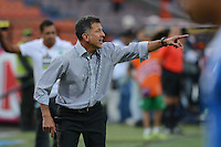 MEDELLÍN -COLOMBIA-10-08-2014. Juan Carlos Osorio de Atlético Nacional gesticula durante el partido contra Millonarios por la fecha 4 de la Liga Postobón II 2014 jugado en el estadio Atanasio Girardot de la ciudad de Medellín./ Atletico Nacional coach Juan Carlos Osorio gestures during the match against Millonarios for the 4th date of the Postobon League II 2014 at Atanasio Girardot stadium in Medellin city. Photo: VizzorImage/Luis Ríos/STR