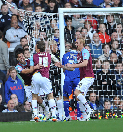 29.10.2011. London England. Sam Baldock scores during the Npower Championship Football Association match between West Ham and Leicester City Upton Park London . Mandatory Credit: Actionplus