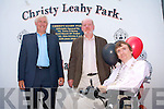 CHRISTY LEAHY PARK: Christy Leahy with The Mayor of Tralee Terry O'Brien and Don Givens at the unveiling of the St Brendan's Park FC grounds named after Christy Leahy on Saturday.