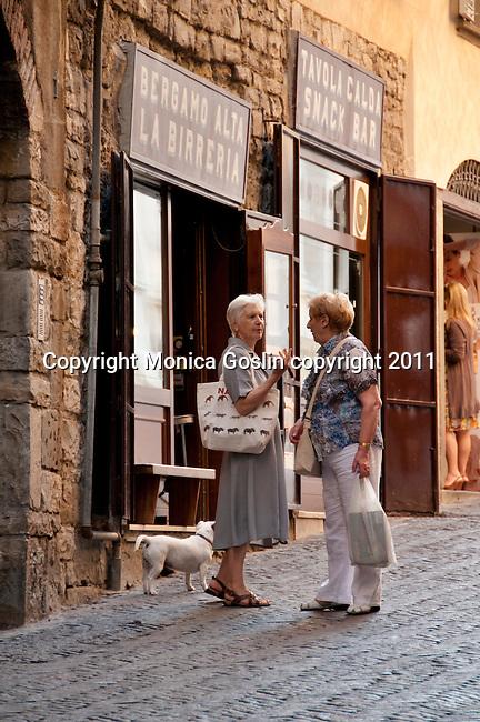 Two Italian women discuss life in Bergamo, Italy