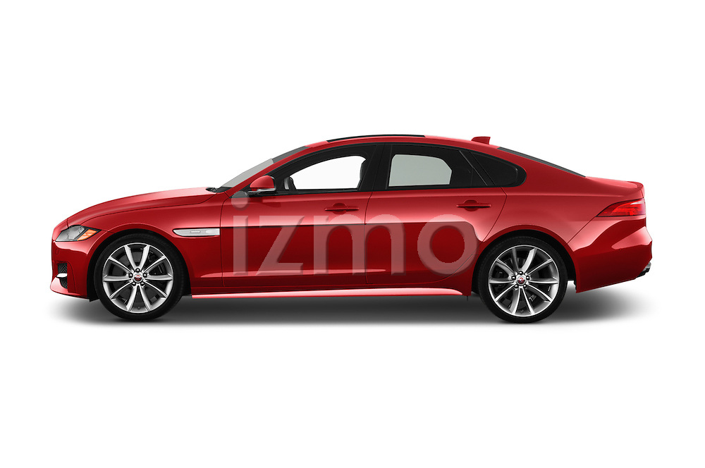 Car Driver side profile view of a 2018 Jaguar XF 35t-R-Sport 4 Door Sedan Side View