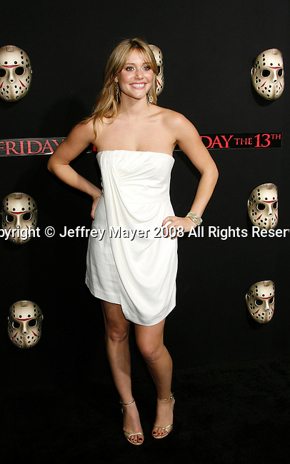 "HOLLYWOOD, CA. - February 09: Actress Julianna Guill arrives at the Los Angeles premiere of ""Friday The 13th"" at Grauman's Chinese Theater on February 9, 2009 in Hollywood, California."