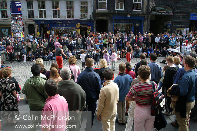 The Edinburgh Festival Fringe, the world's largest arts festival, enters its final week with street performers, actors, magicians and theatre groups all flocking to the Royal Mile to demonstrate their special talents to audiences in the street. The Fringe ends on 30th August after a four-week run........