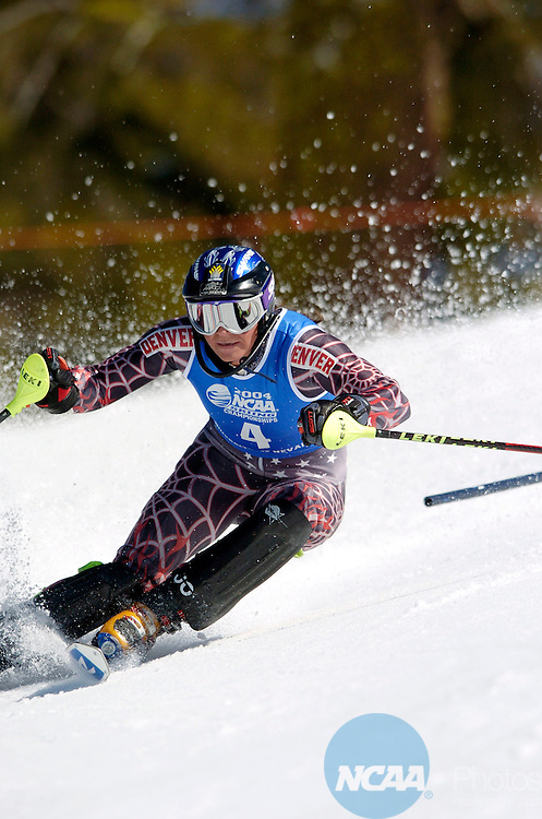 12 MAR 2004: Pia Rivelsrud of the University of Denver skis to a first place during the women's slalom finals at the NCAA Men and Women's Skiing Championships at Sugarbowl Ski Area in Truckee, CA. Pia Rivelsrud of the University of Denver placed first to win the national title. Brett Wilhelm/NCAA Photos