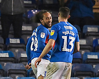 Marcus Harness of Portsmouth left is congratulated by James Bolton of Portsmouth on scoring the second goal to make the score 2-1 during Portsmouth vs Northampton Town, Leasing.com Trophy Football at Fratton Park on 3rd December 2019