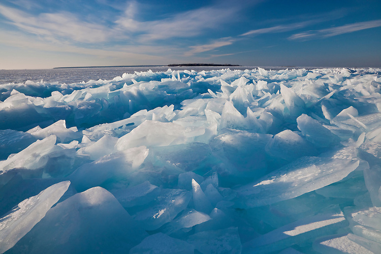 Afternoon light on ice formations on the shore of Lake Michigan at Peninsula State Park; Door County, WI