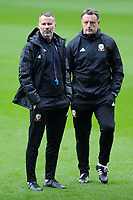 Ryan Giggs (left)  Manager of Wales in action during the Wales Training Session at the Cardiff City Stadium in Cardiff, Wales, UK. Thursday 15 November 2018