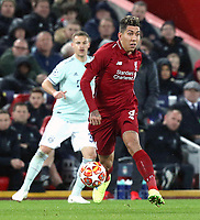 Liverpool's Roberto Firmino<br /> <br /> Photographer Rich Linley/CameraSport<br /> <br /> UEFA Champions League Round of 16 First Leg - Liverpool and Bayern Munich - Tuesday 19th February 2019 - Anfield - Liverpool<br />  <br /> World Copyright © 2018 CameraSport. All rights reserved. 43 Linden Ave. Countesthorpe. Leicester. England. LE8 5PG - Tel: +44 (0) 116 277 4147 - admin@camerasport.com - www.camerasport.com