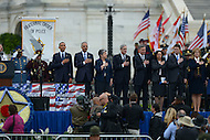 May 15, 2013  (Washington, DC)  President Barack Obama, Eric Holder, Jr., Janet Napolitano, Robert Mueller and other dignitaries honor the colors at the 32nd Annual Peace Officers memorial Service on the west lawn of the U.S. Capitol.  (Photo by Don Baxter/Media Images International)
