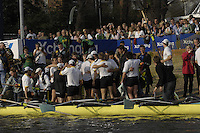 London, GREAT BRITAIN,  Cambridge celebrate, with Goldie, after winning  the 2007 Boat Race between Putney to Mortlake, on  Sat. April 7th. England [Photo Peter Spurrier/Intersport Images].CAMBRIDGE BLUE BOAT, bow, Kristopher McDaniel, Dan O?Shaughnessy, Peter Champion, Jacob (Jake) Cornelius, Tom James [President], Kieran West, Sebastian Schulte, Thorsten Engelmann, cox, Rebecca Dowbiggin Varsity Boat Race, Rowing Course: River Thames, Championship course, Putney to Mortlake 4.25 Miles,
