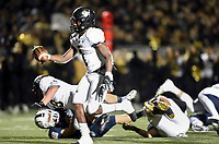 NWA Democrat-Gazette/CHARLIE KAIJO Bentonville Preston Crawford (1) carries the ball for a score, Friday, November 8, 2019 during a football game at Bentonville West High School in Centerton.