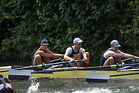 """Henley on Thames, United Kingdom, 4th July 2018, Wednesday, View, Heat of the """"Temple Challenge Cup. left ,"""" Temple, University, USA.,  and Yale University, USA"""",  first day of the annual,  """"Henley Royal Regatta"""", Henley Reach, River Thames, Thames Valley, England, © Peter SPURRIER,"""
