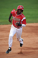 Batavia Muckdogs outfielder Galvi Moscat (27) running the bases during a game against the State College Spikes August 23, 2015 at Dwyer Stadium in Batavia, New York.  State College defeated Batavia 8-2.  (Mike Janes/Four Seam Images)
