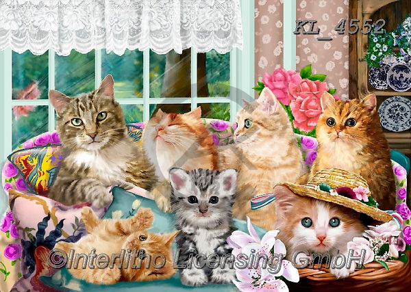 Interlitho-Franco, REALISTIC ANIMALS, REALISTISCHE TIERE, ANIMALES REALISTICOS, paintings+++++,cats,KL4552,#a#, EVERYDAY ,puzzle,puzzles