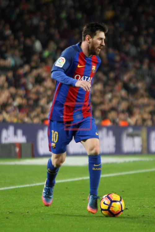 League Santander 2016/2017. Game: 23.<br /> FC Barcelona vs CD Leganes SAD: 2-1.<br /> Lionel Messi.