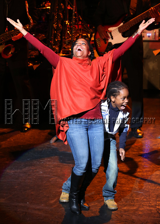 Rhonda Ross and son Raif with Diana Ross performing 'Endless Memories' in concert at City Center on April 29, 2017 in New York City.