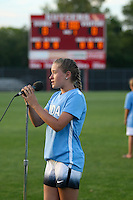 Piscataway, NJ - Saturday Aug. 27, 2016: PDA anthem singer prior to a regular season National Women's Soccer League (NWSL) match between Sky Blue FC and the Chicago Red Stars at Yurcak Field.