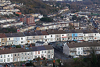 General view of Mount Pleasant and Saint Thomas areas in Swansea, Wales, UK. Wednesday 30 January 2019