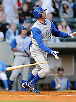 April 10, 2009: Outfielder Paulo Orlando (16) of the Wilmington Blue Rocks, Class A affiliate of the Kansas City Royals, in a game against the Myrtle Beach Pelicans at BB&T Coastal Field in Myrtle Beach, S.C. Photo by:  Tom Priddy/Four Seam Images