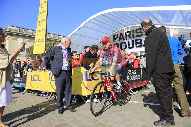Mads Wurth Schmidt (DEN) Team Katusha Alpecin at sign on for the 115th edition of the Paris-Roubaix 2017 race running 257km Compiegne to Roubaix, France. 9th April 2017.<br /> Picture: Eoin Clarke | Cyclefile<br /> <br /> <br /> All photos usage must carry mandatory copyright credit (&copy; Cyclefile | Eoin Clarke)