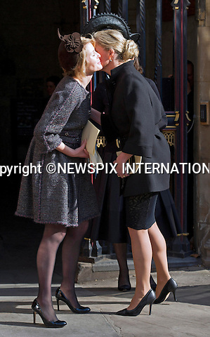 SOPHIE, COUNESS OF WESSEX KISSES LADY SERENA LINLEY<br /> at the Sir David Frost Memorial Service, Westminster Abbey, London_13/03/2014<br /> Mandatory Credit Photo: &copy;Dias/NEWSPIX INTERNATIONAL<br /> <br /> **ALL FEES PAYABLE TO: &quot;NEWSPIX INTERNATIONAL&quot;**<br /> <br /> IMMEDIATE CONFIRMATION OF USAGE REQUIRED:<br /> Newspix International, 31 Chinnery Hill, Bishop's Stortford, ENGLAND CM23 3PS<br /> Tel:+441279 324672  ; Fax: +441279656877<br /> Mobile:  07775681153<br /> e-mail: info@newspixinternational.co.uk