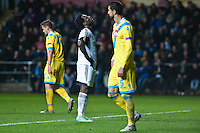 Swansea, UK. Thursday 20 February 2014<br /> Pictured: Wilfried Bony looks to the sky after missing another shot on goal<br /> Re: UEFA Europa League, Swansea City FC v SSC Napoli at the Liberty Stadium, south Wales, UK