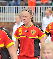 20131011 - SCHWEINFURT , GERMANY :  Belgian Petra Baldewijns pictured during the female soccer match between Belgium Women U17 and The Netherlands U17 , in the first game of the Elite round in group6 in the UEFA European Women's Under 17 competition 2013 in the Willy Sachs Stadium - Schweinfurt. Friday 11 October 2013. PHOTO DAVID CATRY