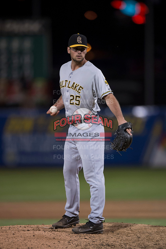 Salt Lake Bees relief pitcher Jake Jewell (25) during a Pacific Coast League game against the Fresno Grizzlies at Chukchansi Park on May 14, 2018 in Fresno, California. Fresno defeated Salt Lake 4-3. (Zachary Lucy/Four Seam Images)