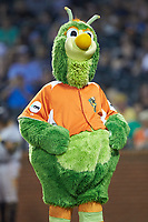 "The Greensboro Grasshoppers mascot ""Guilford the Grasshopper"" entertains fans between innings of the game against the West Virginia Power at First National Bank Field on August 9, 2018 in Greensboro, North Carolina. The Power defeated the Grasshoppers 9-7 in game two of a double-header. (Brian Westerholt/Four Seam Images)"