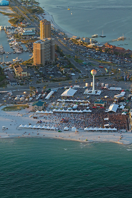 Aerial image of Pensacola Beach during DeLuna fest