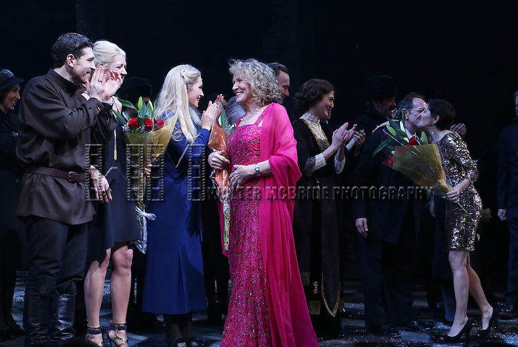 Paul Alexander Nolan, Des McAnuff, Lucy Simon, Tam Mutu and Kelly Devine during the Broadway Opening Night Performance Curtain Call for 'Doctor Zhivago' at The Broadway Theatre on April 21, 2015 in New York City.