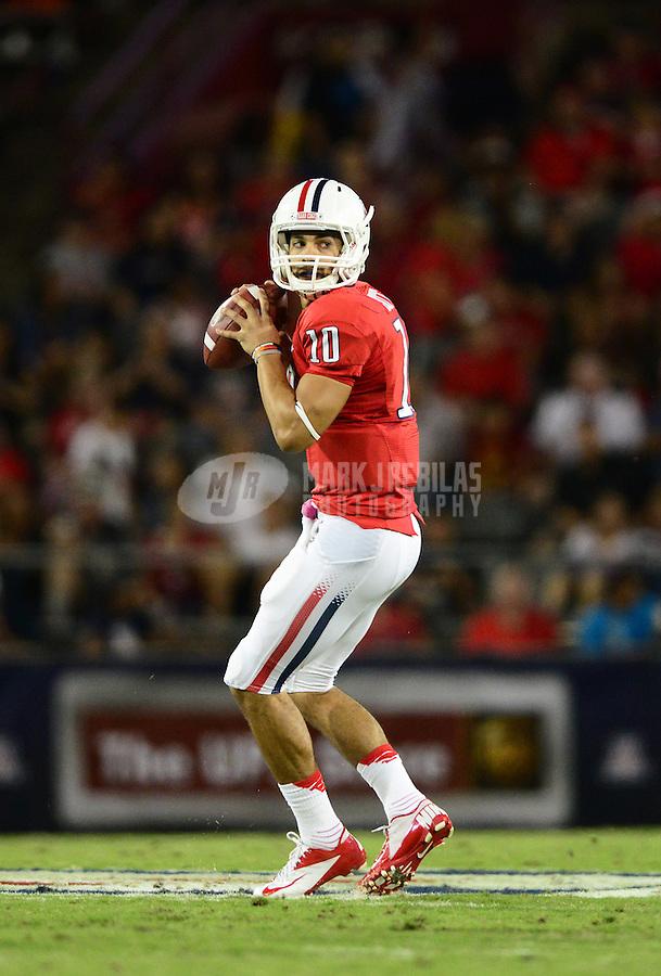 Oct. 20, 2012; Tucson, AZ, USA; Arizona Wildcats quarterback Matt Scott (10) against the Washington Huskies at Arizona Stadium. Mandatory Credit: Mark J. Rebilas-USA TODAY Sports